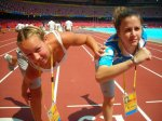 Despite physical contact on the track at the 2008 Beijing Summer Olympics, Alex wins by a pigtail.