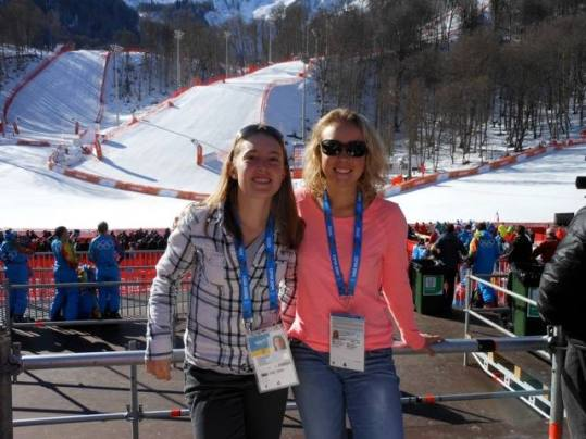 "Chelsea and I at the halfpipe qualifiers today. Fun in the sun on an ""off"" day."