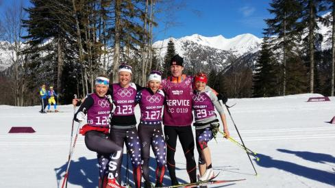 Several women on the U.S. Nordic Ski Team strike a pose with Norwegian skiing legend Bjørn Daehlie on the course during training on Wednesday. (Photo: FIS Cross Country/ Twitter) https://twitter.com/FISCrossCountry/status/433533578878517248/photo/1/large?utm_source=fb&utm_medium=fb&utm_campaign=brooksha1&utm_content=433579507241746432