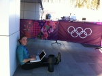 Our outdoor workspace when the media center became unbearably hot last week.