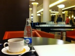 "Morning coffee and water ""with fizz"" in the hotel lobby"